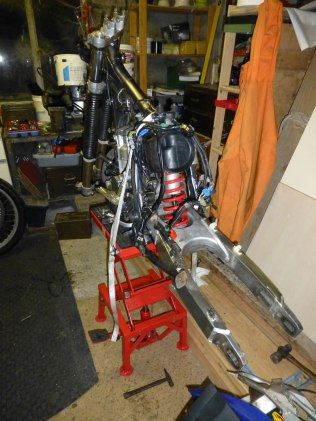 DRZ400 frame, engine, forks and swinging arm