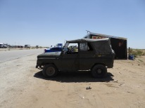Highway to hell: A truck stop on the Khiva to Bukhara road.