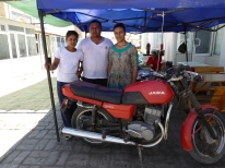 Jawa 350 and family group, Khiva