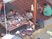 Family group at lunch, Khiva