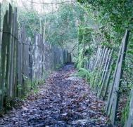 Slate fences define the path to the river